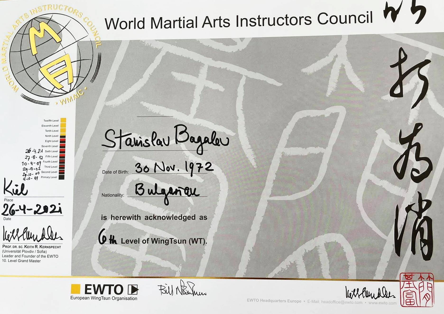 Diplomas 6th WingTsun master level Stanislav Bagalev